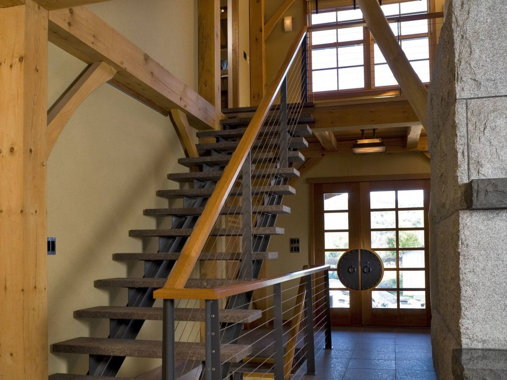 Steel and granite stairs with cable railing