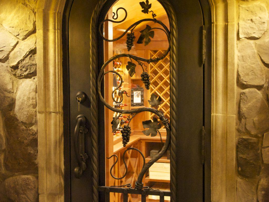 Steel wine cellar door