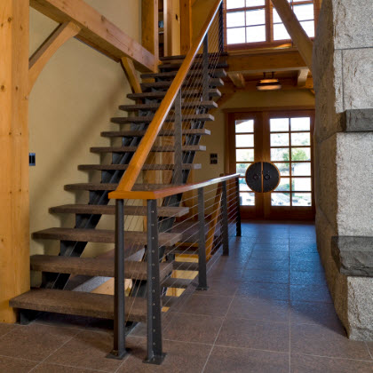 Rustic Stair Railing System with Custom Posts