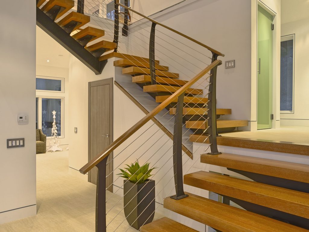 Timber cable railing stairs