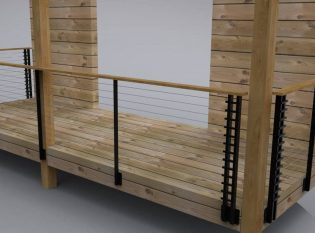 Wood Deck Modern Cable Rail