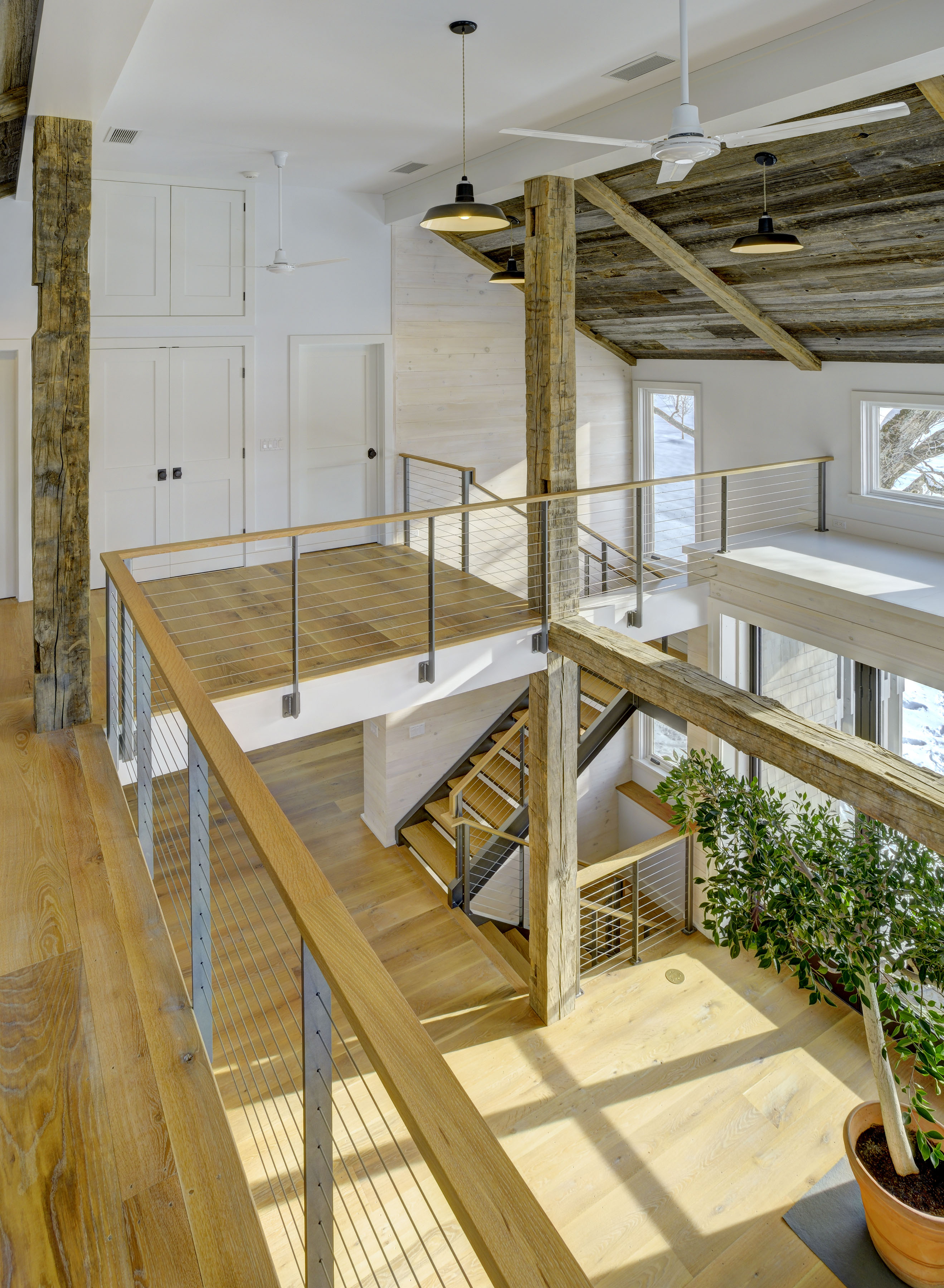Switchback stairway with steel channel stringers and great room