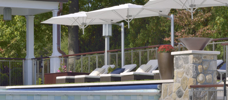 Stainless steel pool fence.