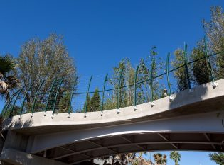Green Curved Cable Fence Posts Fascia Mounted To Bridge