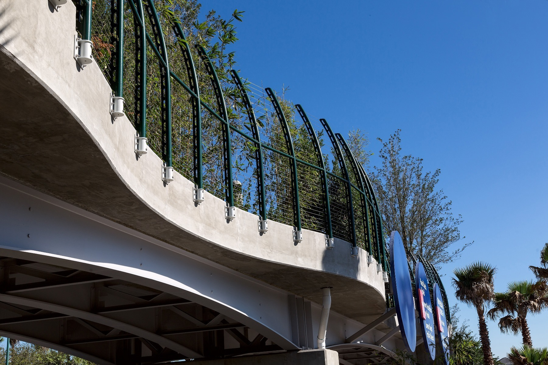 Pedestrian Bridge Curves Along Path
