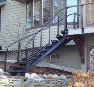 Curved Stairs and cable railing