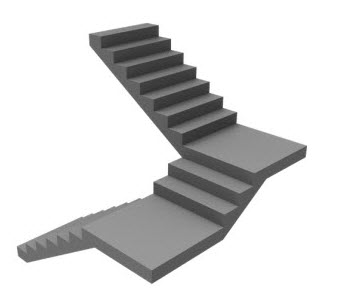 Example quarter landing stairs