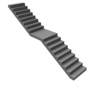 Types of stairs -straight with center landing