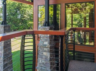 Exposed structural steel with wood and stone construction