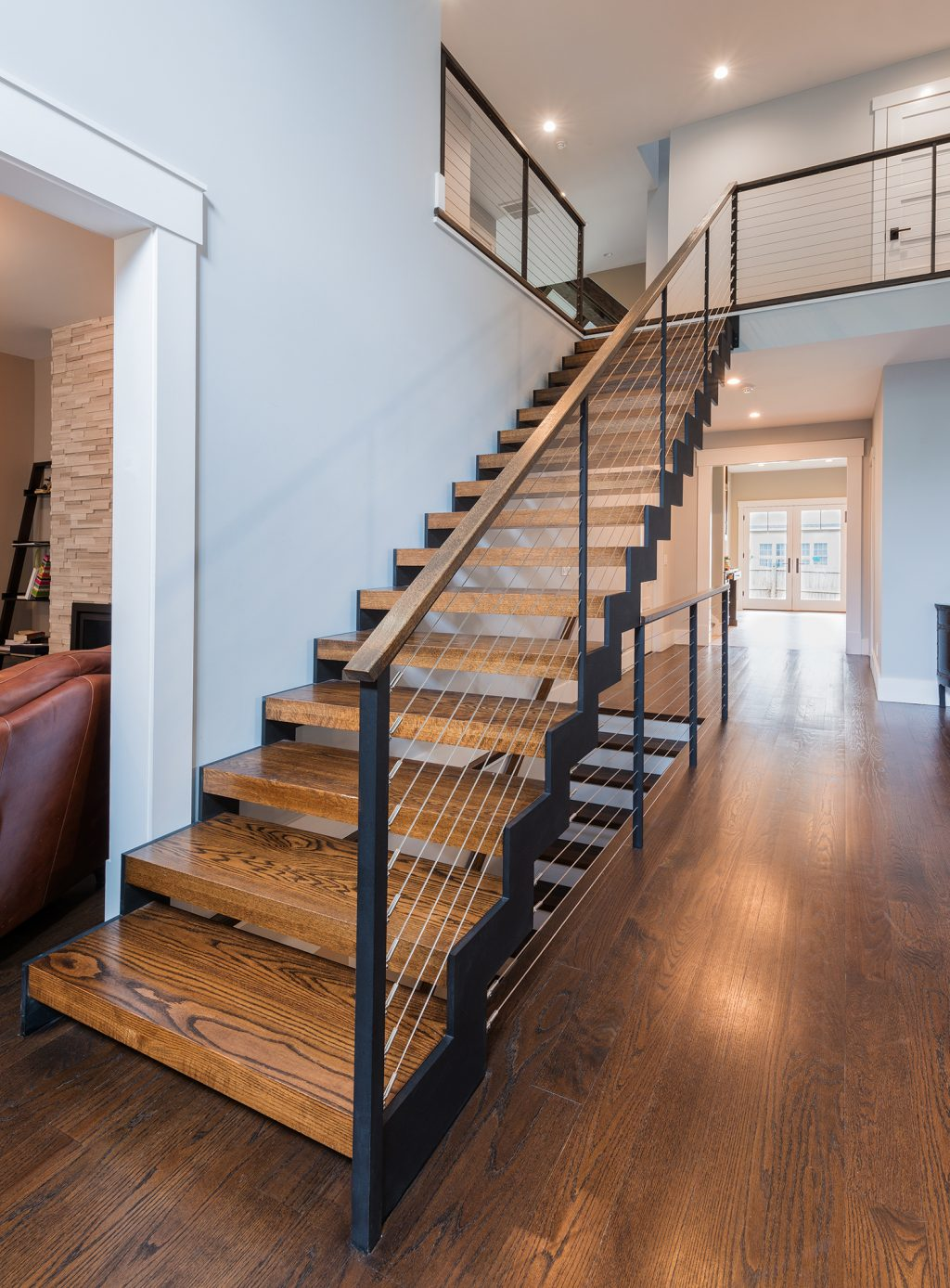 Double stringer zig zag staircase with oak treads