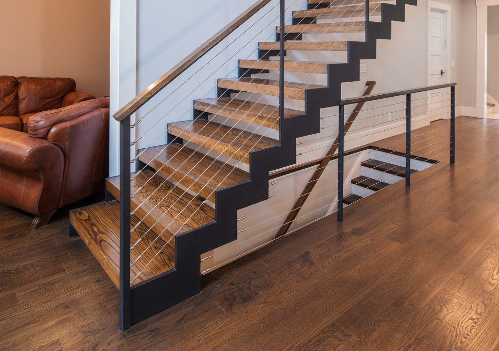 zig zag double stringer stair with wood treads