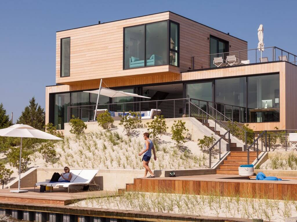 Modern Home on the Jersey Shore with Terraced decks and Ithaca Style cable railings