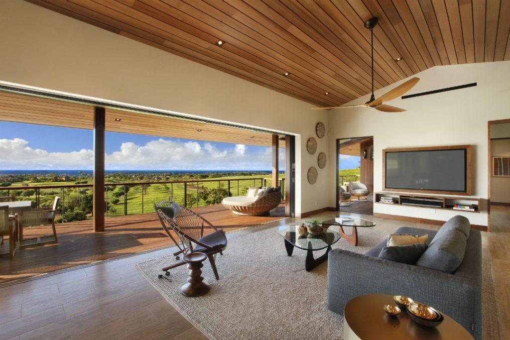 Keuka Studios Cable Deck Railing overlooking expansive ocean view