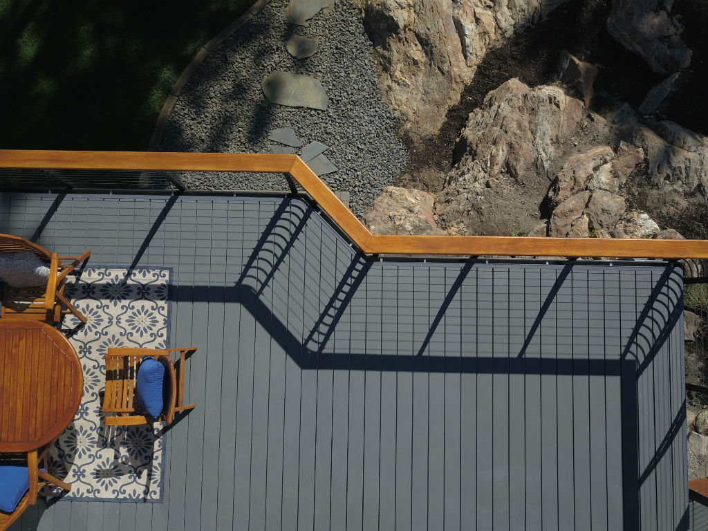 Aerial view of deck and railing