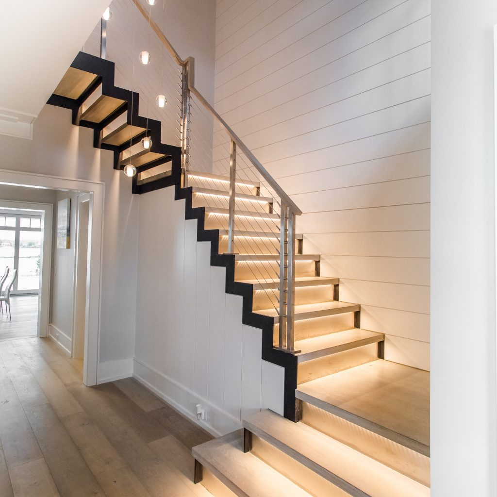 modern staircase and LED lighted treads