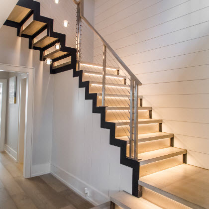 Modern Stairs with Stainless Railing – Greenwich, CT