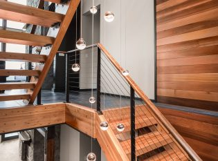 Wood Staircase with black railing
