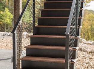 Exterior Deck staircase with black railing system
