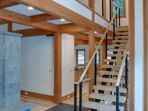 Straight double stringer stairs by Keuka Studios