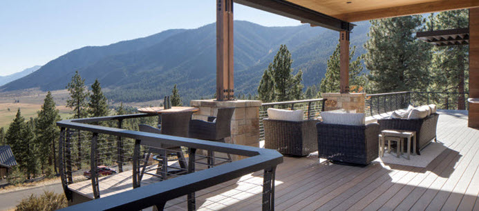Deck Railing with mountain view