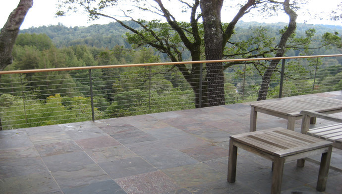 Slate deck with cable railing