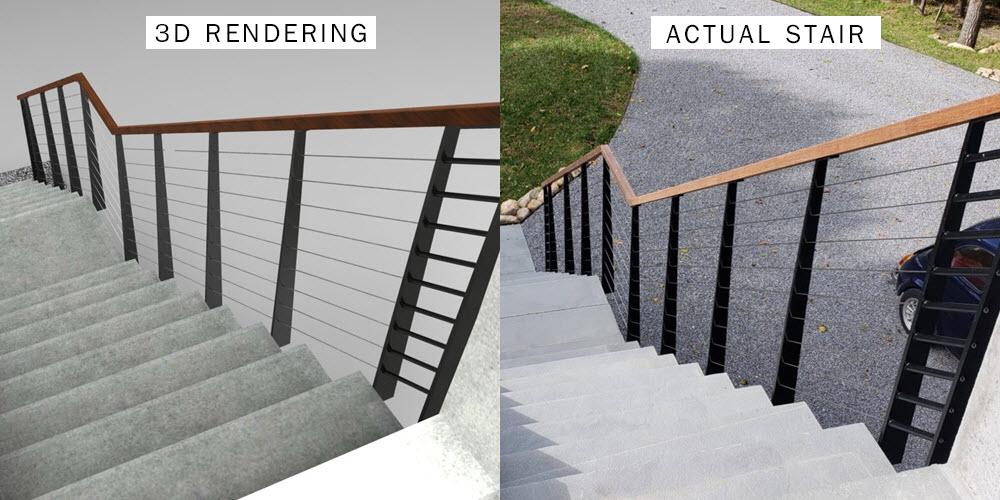 3D CAD Drawing Vs Actual Cable Railing