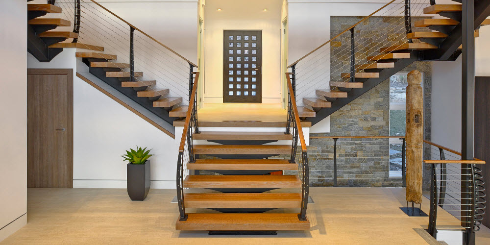 Floating Stair and Cable Railing Design