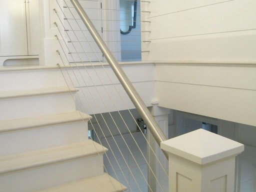 Stainless steel cable railing and round hand rail