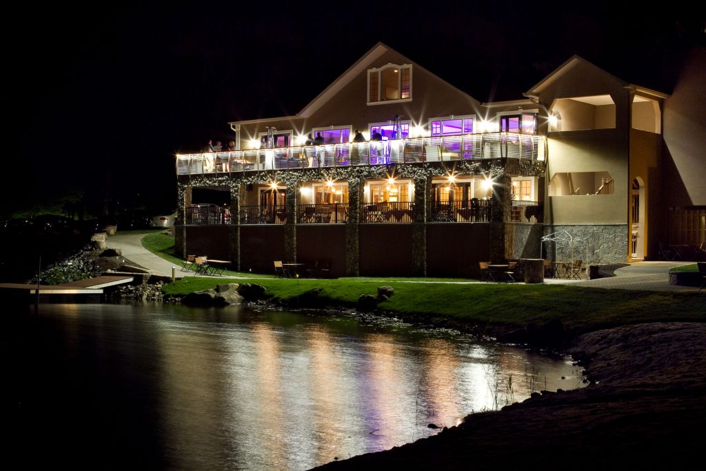 Rock Island Lake Club wedding reception deck with Keuka Style railing.