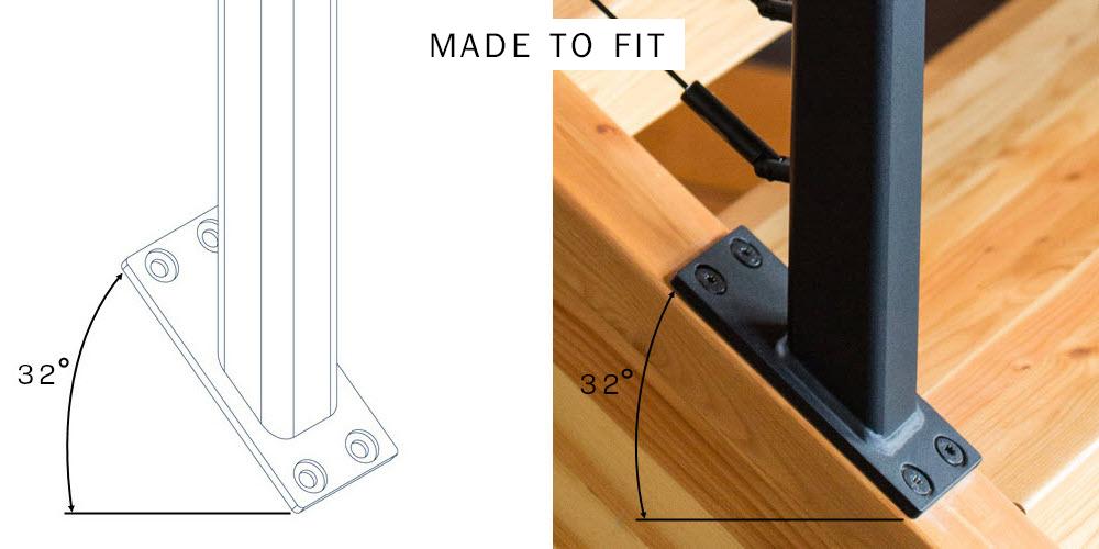 Custom Angle Railing Post