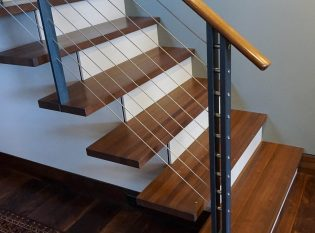 Custom staircase railing posts with double-support and stainless steels spacers
