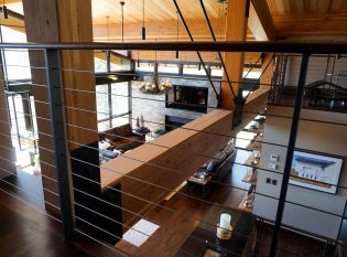 Exposed beam architecture and modern cable railing system