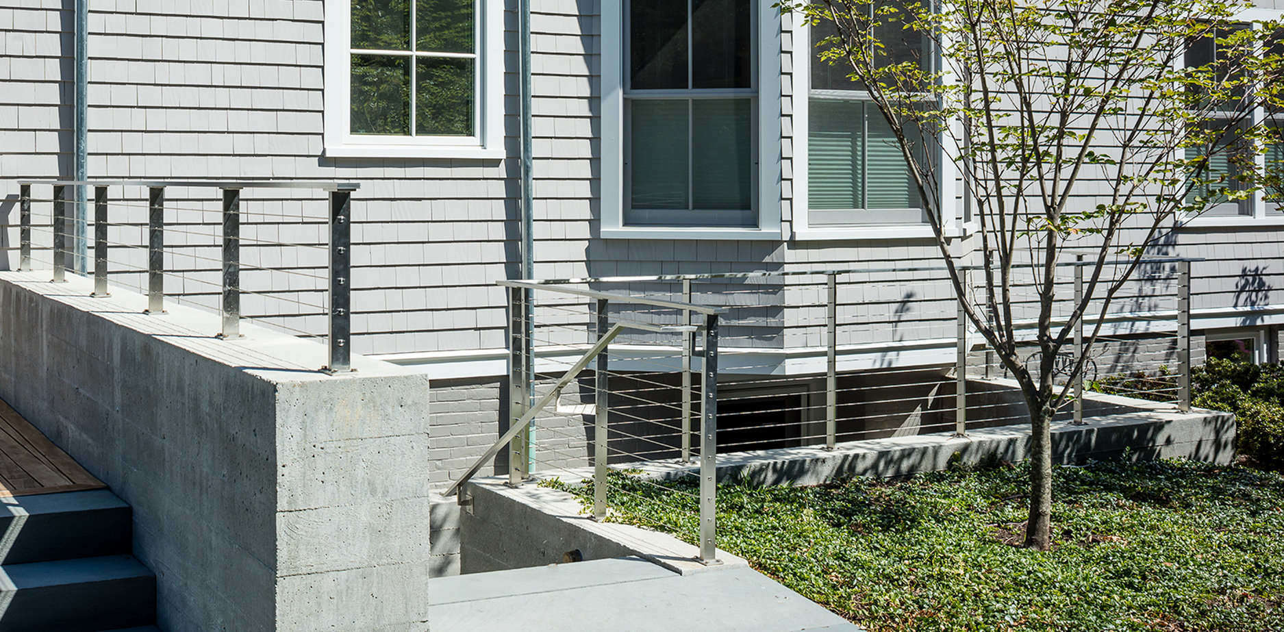 Exterior staircase with stainless steel cable railing