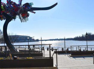 View of the Potomac River through Keuka Studios custom cable railing.