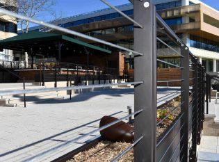 Close-up shot of Washington D.C. restaurant cable railing system.