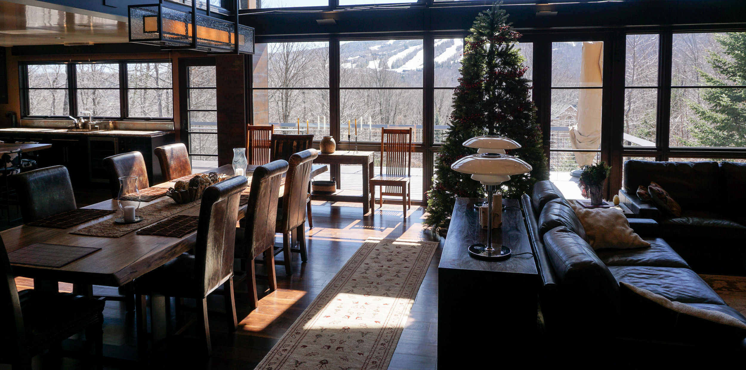 Luxury home interior with view of Vermont mountains