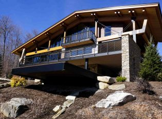 Vermont timber frame home with cable railing system