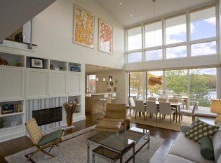 Living room facing Great Pond