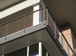 Forward Bank exterior railing. Galvanized and painted steel.