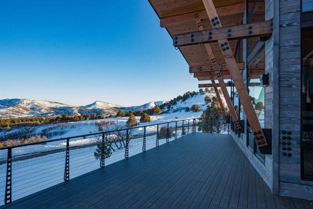 Large cable railing deck with view of mountains in Durango, CO