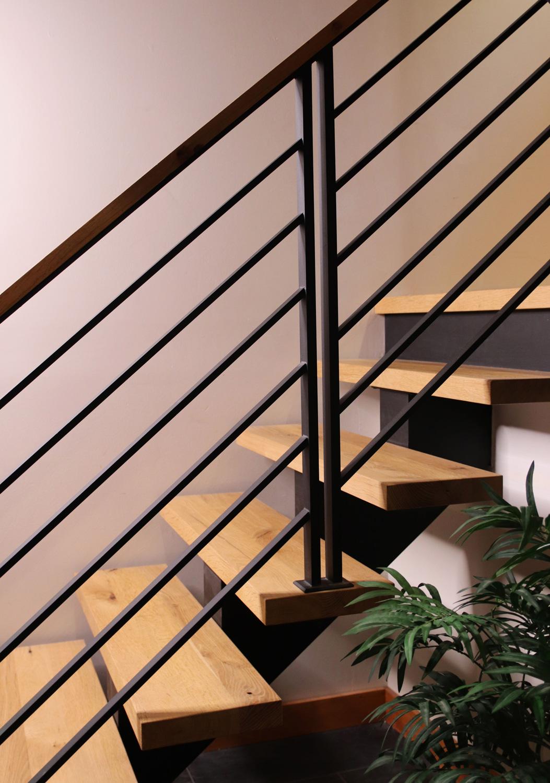 Custom open-riser staircase.