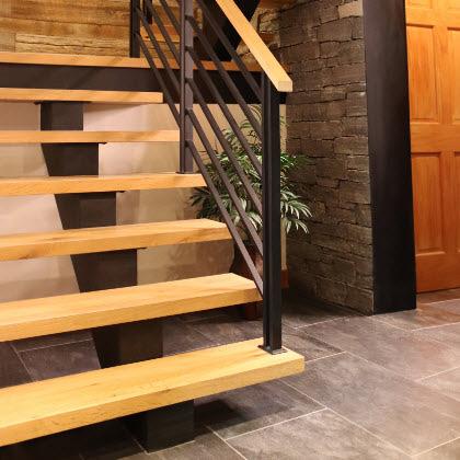 Flat Bar Railing on Custom Floating Staircase, Keuka Lake, NY