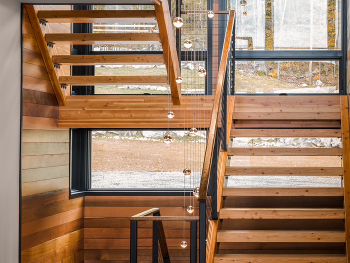 Custom railings for stairs by Keuka Studios