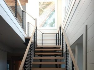 L shaped floating stairs by Keuka Studios