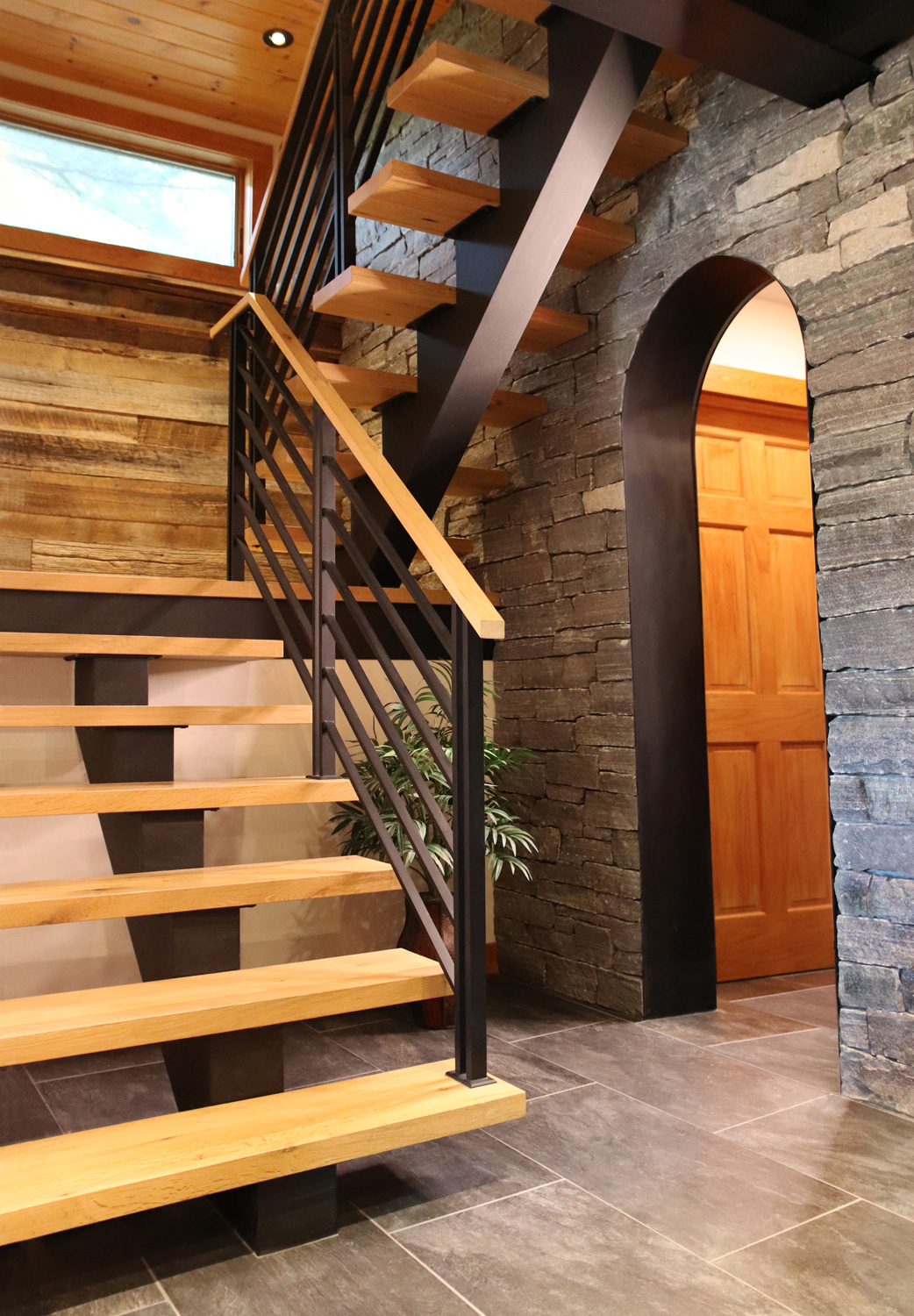 Flat Bar Railing On Floating Staircase Keuka Lake Ny