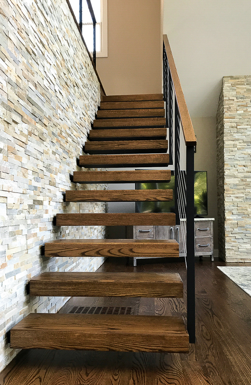 Floating stairs with red oak treads