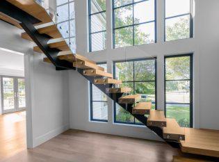 Modern glass railing staircase