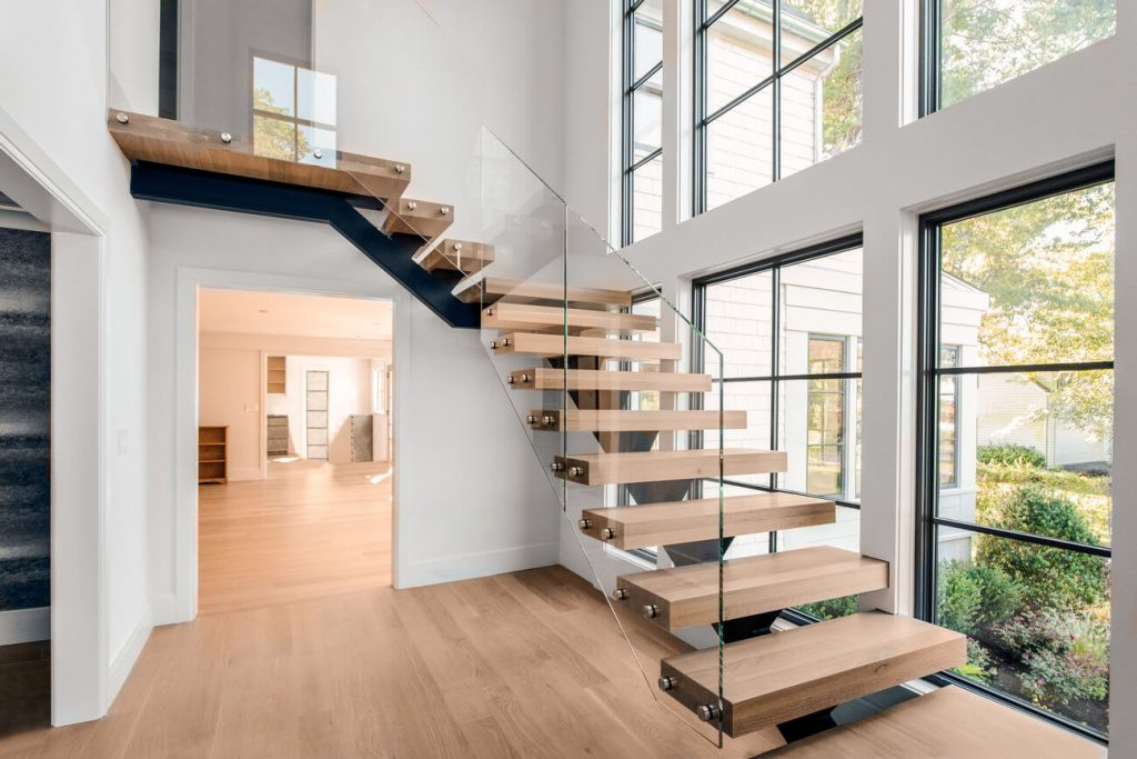 L shaped stairs with Glass Railing floating stair cost example