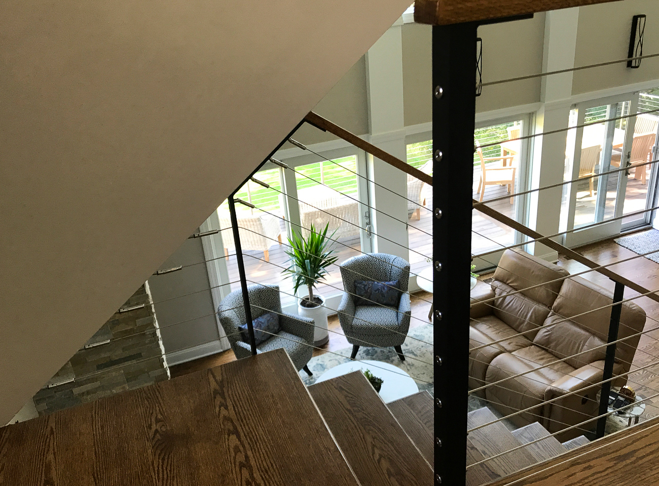 Custom stair railing with cable infill