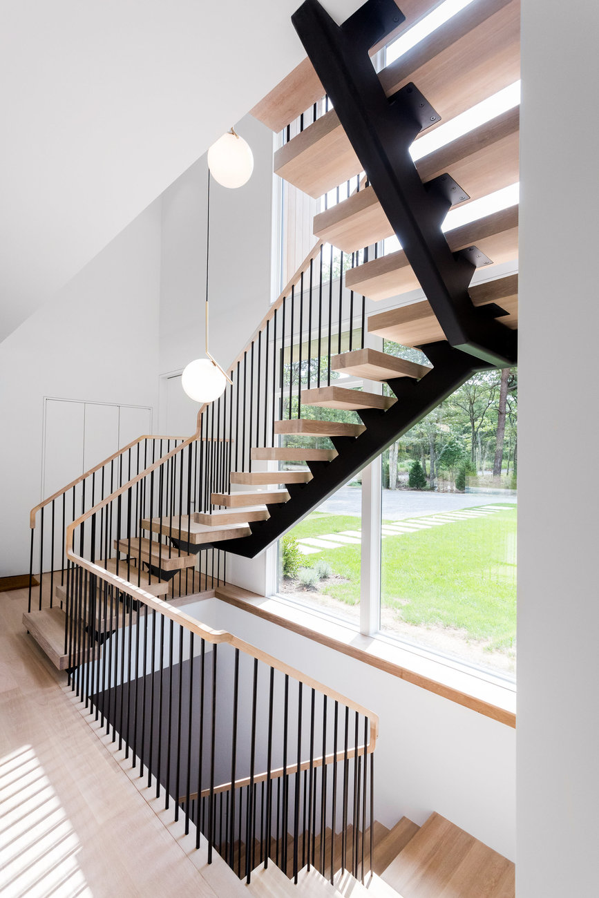 Steel Spindle Railing On Floating Stairs Hamptons Ny